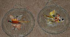 "2 Vintage Flue Covers Wall Hangers With Chain Frames~Pheasants & Ducks 6 1/2"" Ea"