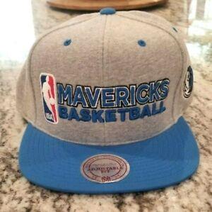NEW DALLAS MAVERICKS NBA MITCHELL NESS GRAY BLUE SNAPBACK ADJUSTABLE HAT CAP