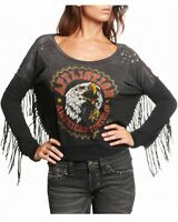 AFFLICTION Women's Black AC Wild P/O Dolman Fringe Long Sleeve Knit Top T-Shirt