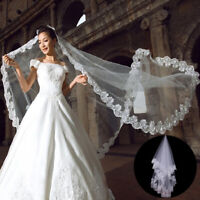 1.5 Meter White Cathedral Wedding Veils Short One Layer Bridal Veil Lace Edge US