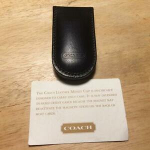 New Coach Black Leather Money Clip - Style No. 4831 Vintage New No Box