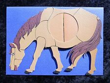Handmade Brown Paper Horse Middle Opens Suprise Image Blank Greeting Card