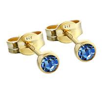 Paar Ohrstecker Gold 333er 3,50mm hellblau Zirkonia Damen Herren Kinder 6593