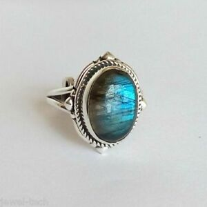 Labradorite Silver Ring 925 Solid Sterling Silver Jewelry size 3 - 14 US