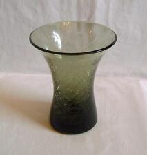 Vintage Hand Blown Green Glass Vase: Cracked Ice Surface Polished Pontil c.1960s