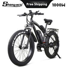 """26"""" Electric Mountain Bike 1000W 48V Fat Tire Ebike City Bicycle Moped Unisex"""