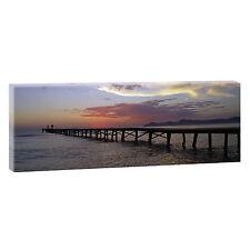 Sonnenuntergang am Meer-Panorama Bild Leinwand Poster Wandbild 150 cm*50 cm 030