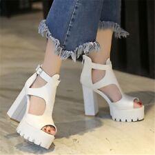 Women's Super Block High Heel Sandals Ankle Strap Platform Party  Peep Toe Shoes