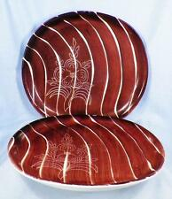2 Purinton Intaglio Dinner Plates Brown Brush Strokes Incised Flower 1 As Is