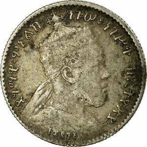 [#654790] Coin, Ethiopia, Menelik II, Gersh, 1903, Paris, VF(20-25), Silver