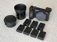 Sony a6500 Camera Bundle: 19mm Sigma Lens, Sigma MC-11 Converter, 7 Batteries