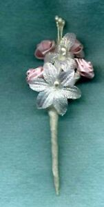 BARBIE BOUQUET SMALL WHITE & PINK FLOWERS WRAPPED STEMS