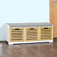 SoBuy® Hallway Shoe Storage Bench with 3 Drawers & Seat Cushion,FSR23-WN, UK