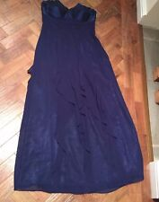 DEBUT Deep Blue Maxi Length Special occasions Evening Prom Cruise Dress sz 12