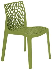 Gruvyer Indoor Outdoor Dining Chairs, from Italy, Stackable, Strong (4 chairs)