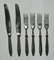 Cutlery Forks Knives Stainless Steel Soviet Vintage Set of 6 pieces USSR