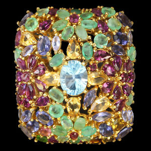 Oval Concave Swiss Blue Topaz Citrine Emerald Gems 925 Sterling Silver Big Ring