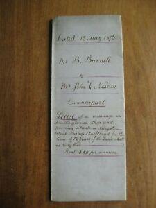 Bishop Auckland: Manuscript Indenture: Lease, B. Burnell to J. Nelson, 13/5/1876