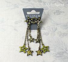 Vintage Danish PILGRIM Earrings STAR Charms Gold Green Swarovski Enamel BNWT