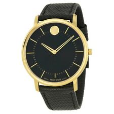 Movado Black Dial Black Leather  TC Ultra-Thin Mens Watch 0606847