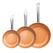 Healthy Non Stick Copper Ceramic 3 PCS Induction Bottom Frying Pan Skillet Set