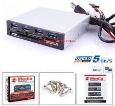 PANNELLO FRONTALE 3.5 MULTIFUNZIONE USB 3.0 PC PER LETTORE CF FLOPPY CARD READER