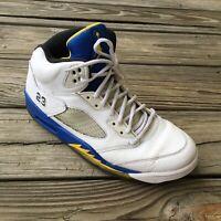 Men's Nike Air Jordan 5 Retro Laney 2013 Shoes Sneakers Size 10.5M White Blue V4