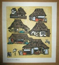 SUMIO KAWAKAMI-Modern Japanese Woodblock Print-Village With Birds