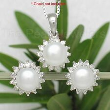 Sterling Silver White Cultured Pearl Cubic Zirconia Stud Earrings & Pendant TPJ