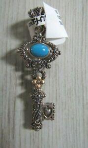 Barbara Bixby Sterling Silver/18K Turquoise Key Enhancer Pendant