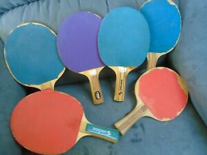 LOT OF 6 VINTAGE SPORTCRAFT PING PONG TABLE TENNIS PADDLES