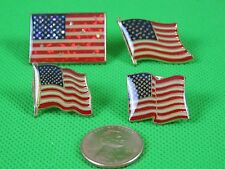 10 Pieces New American Flag Lapel Pin Assort. 4 Styles USA Hat Tie Tac Patriotic