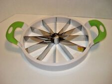 Green/White Watermelon/Melon Slicer/Cutter with Handles  Slices 12 Sections, New