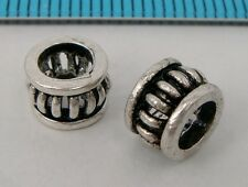 2x OXIDIZED STERLING SILVER RONDELLE EUROPEAN BEAD SPACER 7mm #1929