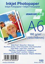 100 Blatt Fotopapier Fotokarten A 6 180g/m² weiß glänzend glossy Photopapier