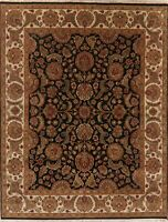 Agra Area Rug Wool Hand-Knotted Oriental Floral NEW All-Over 8 x 10 Carpet BLACK