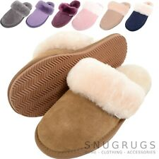 SNUGRUGS Ladies Womens Full Sheepskin Slipper Mule Sheepskin Cuff Rubber Sole
