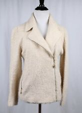 St John Cream Boucle Knit Asymmetrical Jacket Gold Zipper Heart Charm Sz 6