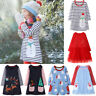 Toddler Kids Baby Christmas Snowman Print Tulle Princess Striped Dress Outfits