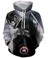 2018 Fashion Women/Men Captain America 3D Print Casual Hoodie Sweatshirt R104