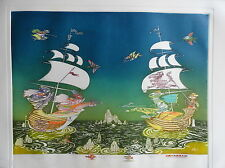 "Guillermo Silva"" Duelo Naval"" Original Colored Etching"