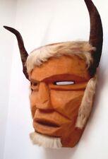 """HUGE 17"""" VTG Handmade Wooden White Devil MASK Real Hair Beard Goat Antler Horns"""