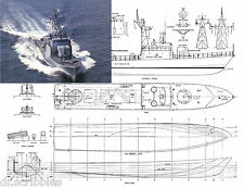 "Model Boat Plan 3/16=1' 29"" Radio control Malaysian Navy FAST PATROL BOAT PLANS"