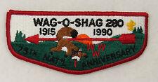OA Lodge 280 Wag-O-Shag S6 Flap FDL; RED WWW 1915-1990 75thOA  [B0164]