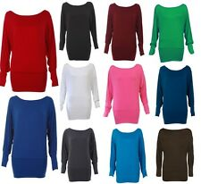 WOMENS BATWING PLUS SIZE BAGGY TOP JUMPER JERSEY LADIES LONG SLEEVE PLAIN 8-22