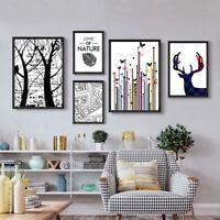 Abstract Animal Deer Canvas Poster Plants Print Nordic Minimalist Art Home Decor