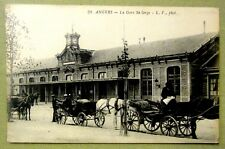 ANGERS GARE SERGE TRAIN STATION POSTCARD FRANCE HORSE WAGON MEN Vintage Photo
