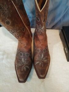 Shyanne SAN JUAN MAD DOG Brown Leather Snip Toe Western Boot Women Size 8 1/2 B