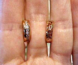 Rose Gold Diamond Hoop Earrings-Filigree Hinged Fastening-GORGEOUS!!