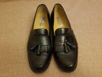 Massimo Emporio Men Black Leather Loafers Kiltie Tassel Dress Shoes Size 12 M